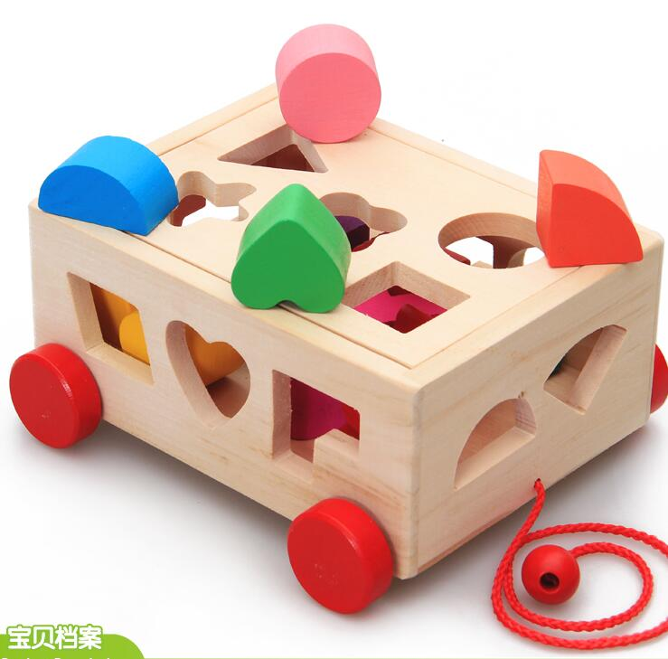Candice guo Montessori game baby educational wooden toy 15 holes intelligence drag car box shape match building wood block gift<br><br>Aliexpress