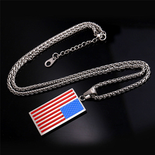 2017 American Flag USA Patriot Freedom Stars and Stripes Dog Tag Pendant Necklace Men/Women Jewelry Gold Color Stainless Steel(China)