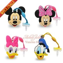 4pcs/lot Hot sale cartoon Mickey  Minnie PVC Dust plug Phone pendants phone accessories Strap ropes travel bag decortion