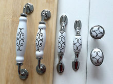 "3"" 3.75"" 5"" 6.3"" White Dresser Pulls Drawer Pull Handles Kitchen Cabinet Door Knobs Silver Furniture Knob Pull 76 96 128 160()"