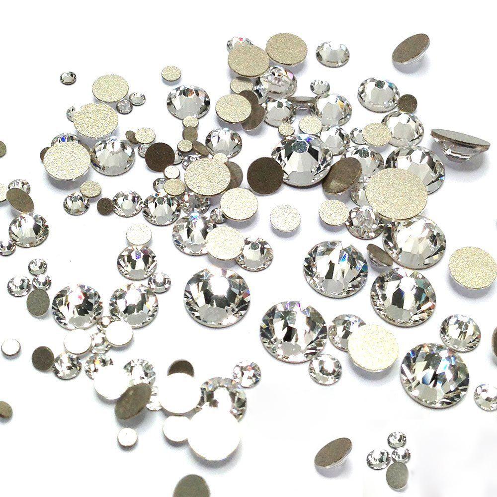 Ясно Стекло Кристалл Стразы Mix Размеры Дизайн ногтей Камни strass Фольга назад для Naill бриллиантами блеск украшения Советы(China)