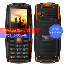 Promotion 3 Days New Vkworld Stone V3 IP68 Waterproof Phone Elder Phone Big Keyboard FM Loud Speaker 3 Sim Card 3000mAh Battery(China)