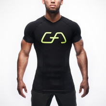 2016 Rushed Summer Golds T-shirts Men Bodybuilding V Neck Top Casual Men's Short Sleeve M-2xl Freepost Compression Clothes