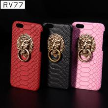 New Fashion Luxury 3D lion head metal Ring holder Stand phone cases Snake Lizard Texture Leather Hard Cover Case For iphone 6 6S