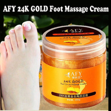 AFY 24K GOLD Shea Butter Exfoliating Foot Massage Cream Foot Peeling Renewal Mask Baby Foot Skin Smooth Feet Care Cream(China)