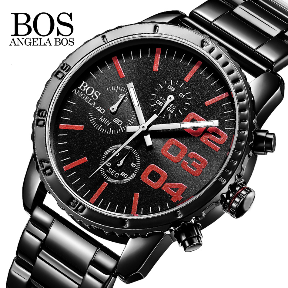 ANGELA BOS Sport Watches For Men Chronograph Stop Watch Stainless Steel Cool Luxury Watch Men Famous Brand Quartz Mens Watches<br>