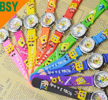 100pcs/lot New Arrival Waterproof 3D Cartoon Silicone Band Chilidren's watches SpongeBob Sqwatches Watch Wholesale(China)