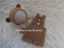 newborn photography props mohair Bear hat and mohair pants(China)