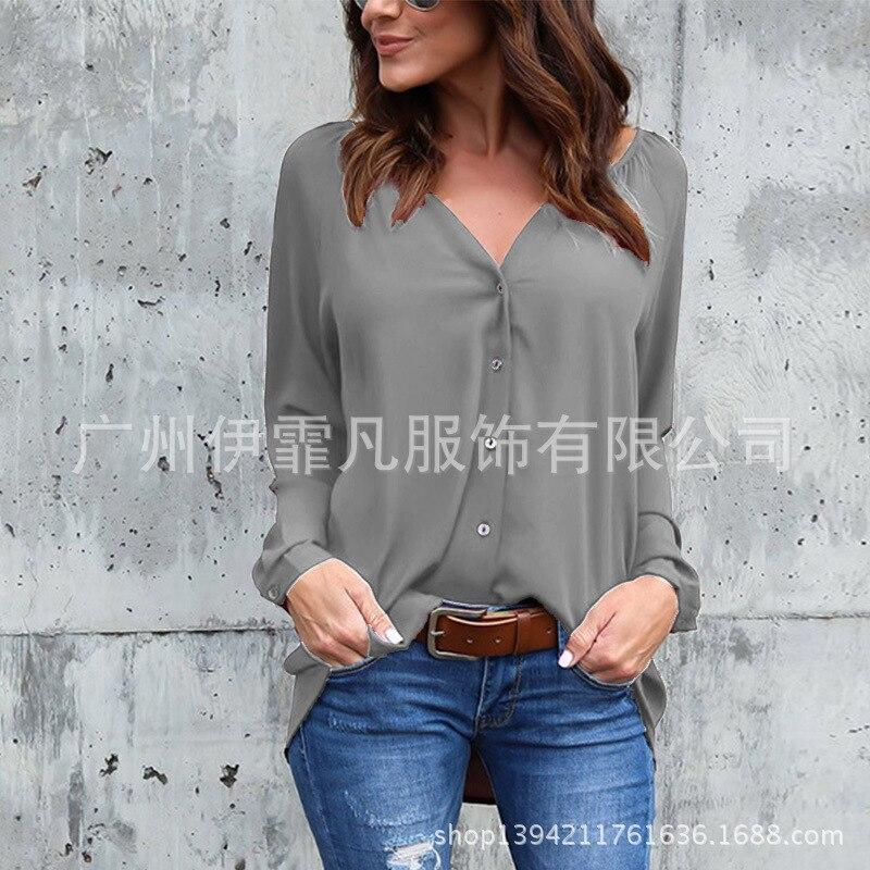Cheap Price Blouse Women New Fashion 2019 Aliexpress V-neck Fold Button Long-sleeved Loose Chiffon Shirt Blusa Feminina Vestidos Eff6173 Women's Clothing
