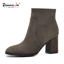 DONNA-IN sheep suede ankle boots fashion square toe thick heel women boots high heel genuine leather ladies boots ankle boots(China)