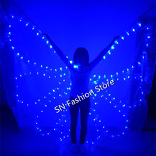 PF006 Colorful LED luminous cloak /light-up costume/Ballroom  lighted wing  butterfly dress Belly dance clothes bar party event
