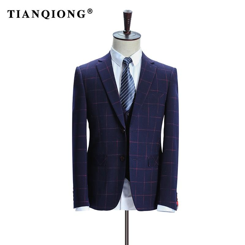 HTB1EP8pSpXXXXXgXVXXq6xXFXXXd - TIAN QIONG Brand Plaid Suit Men 2017 Slim Fit Mens Formal Wear Male Business Suits High Quality 3 Piece Groom Wedding Suit S/3XL