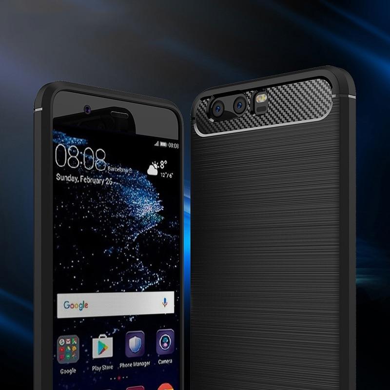 carbon fiber brushed silicone case huawei P10 Plus (1)