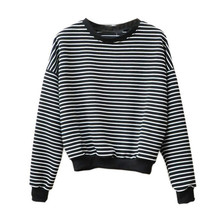 Women's Sweaters Casual Ladies Crew Neck Striped Pullover Long Sleeve Top Loose Black&Gray Military Sweater Pull Femme