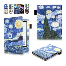 kindle 8 Case Painting ebook Case for amazon New Kindle 2016 8th Generation Fundas 6 inch Protective Cover PU Leather Sleeve(China)