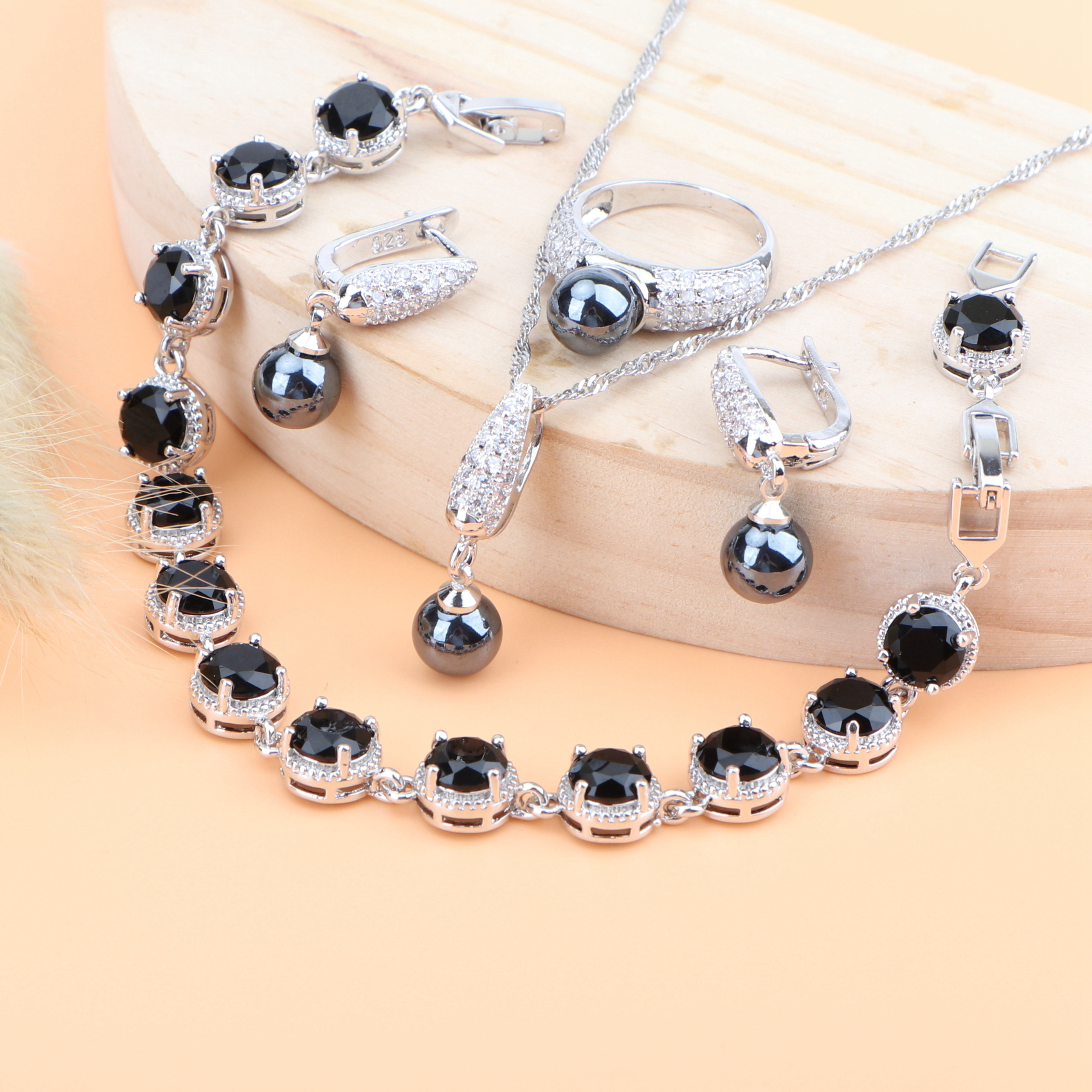 Necklace-Set Bracelets-Rings Pendant Bridal-Jewelry-Sets Pearls Silver Black Women 925 title=