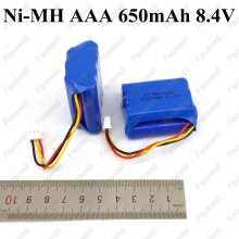 10pcs Brand 8.4v 650mah AAA nimh rechargeable battery pack 3p plug 8.4v ni-mh aaa 1.2v x7 for device electric digital toys etc(China)