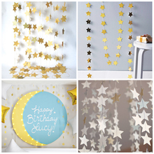 Tinkle Glitter Paper Star Garlands Birthday Party 4M Lenth Banner Handmade Christmas Wedding Store Wall Hanging Decoration(China)