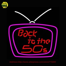 Back To The 50s Television Outdoor Neon Sign Neon Bulb Handcrafted Glass Tube Affiche Light Outdoor Neon Retro Display 24x24(China)