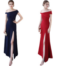 2017 New High Classic Custom Made Off Shoulder Long Side Open Fitting Dress Formal Party Dress Vestidos(China)