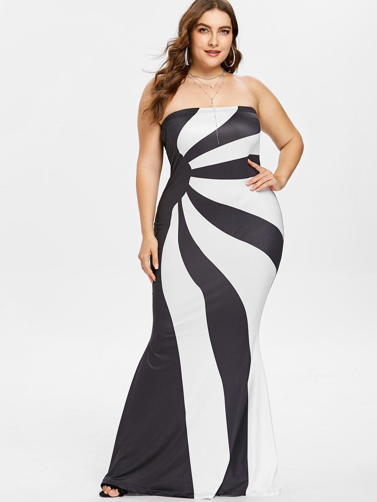 Wipalo Plus Size 5XL Women Color Block Floor Length Bandeau Dress ...
