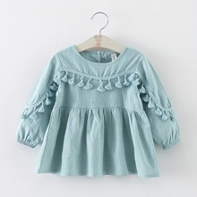 new 2016 spring autumn tassel baby dresses girl clothes casual toddler girls party dress suit 2~7 age newborn dress for girls(China)
