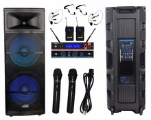 "STARAUDIO SDMN-15RGB New Dual 15"" 5000W Pro PA DJ Powered LED USB SD FM BT Speaker W/ UHF 2CH Microphone System(China)"