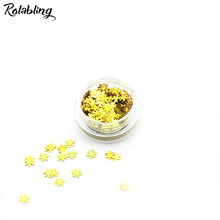 Rolabling 1PC/BOX Bright Yellow Snow Flake Design Nail Glitter Powder Dust DIY Nail Art Accessories UV Gel Polish Nail Powder