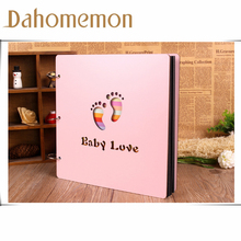 2017 New 16-inch wooden baby grow DIY album Creative manually paste Pink wooden surface our story Baby gift photo album(China)