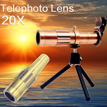 Universal Phone Lense portable 20x Zoom Optical Telescope Camera Telephoto Lens For iphone/samsung Android Smartphone(China)