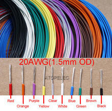 20AWG 1.5mm OD FEP F46 Teflon Wire Silver Plated OFC Cable High Temperature Black/Brown/Red/Orange/Yellow/Green/Blue/White/Clear(China)