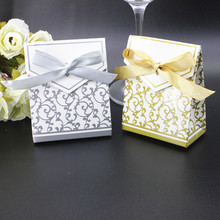 200 x Small Silver or Gold Favor Boxes Cute Wedding Party Gift Bag with Ribbon Wholesale(China)