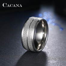 CACANA Stainless Steel Rings For Women Double Path Fashion Jewelry Wholesale NO.R21