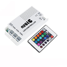 DC12-24V Music controller IR remote sound activated 24Key remote RGB controller for 5050 3528 2835 RGB LED Strip(China)