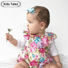 2017 Summer Floral Girl Newborn Clothes Floral Sliders Frilly Sleeve Toddlers Children Overalls Suits girls Beach Suit SR163
