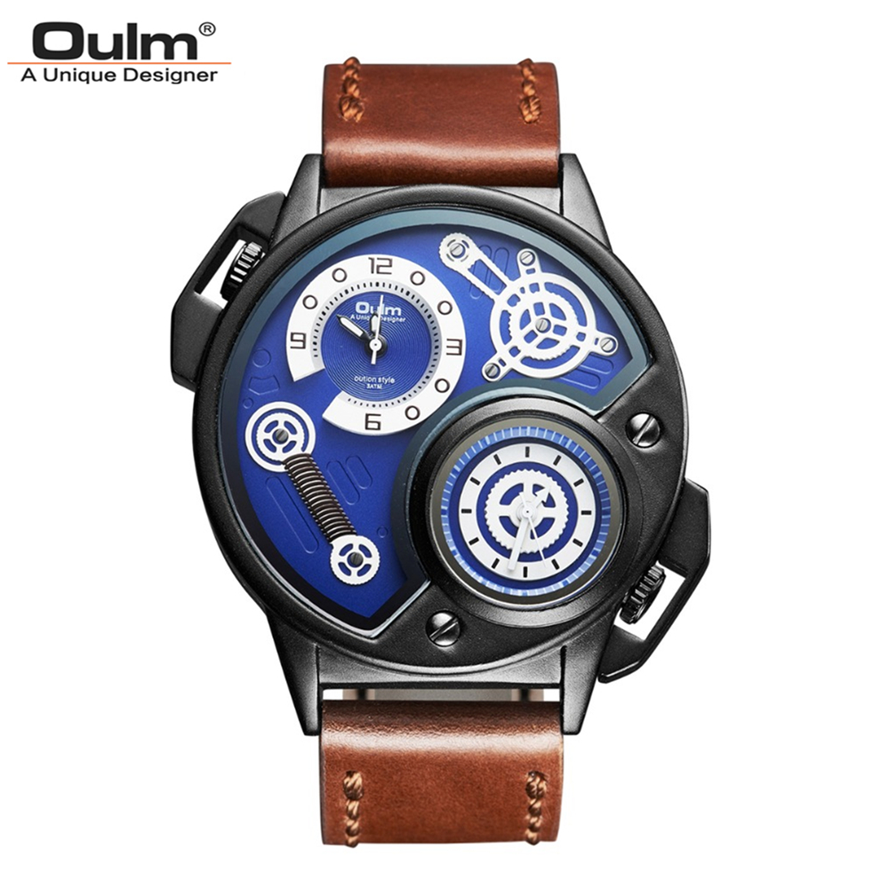 Oulm Brand Men Irregular Shape Leather Strap Quartz Watch Waterproof Dual Time Zones Big Dial Wristwatch For Male Free Ship<br>