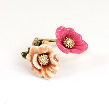 France Les Nereiders Enamel Glaze Copper Romantic Double Colour Peony Flowers Women Adjustable Ring(China)