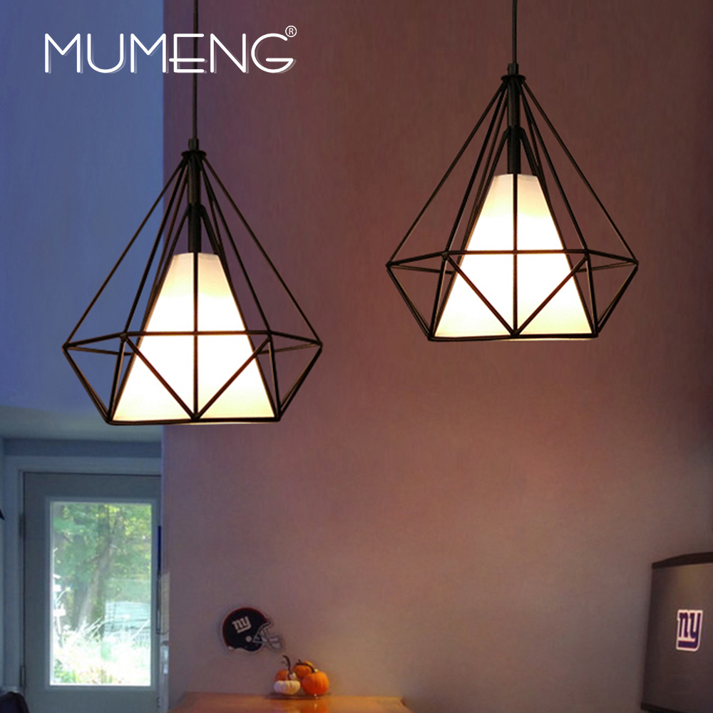 MUMENG Retro  Iron Pendant Light Industrial Loft Living Room Bedroom Foyer Cafe Bar Lamp Restaurant Metal Diamond Shape Lighting<br>