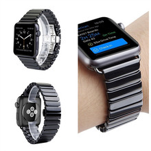 High quality Ceramic Strap for iwatch For Apple Watch Band loop 42mm 38mm Link Bracelet Butterfly Buckle Black white in stock(China)