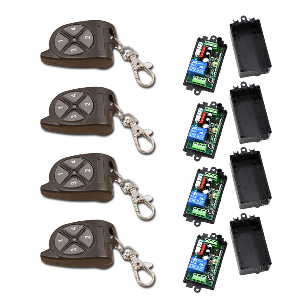 Hot Sales RF Wireless Remote Control Light Switch 4 Remote Control and 4 Receiver with Case 315/433mhz<br>