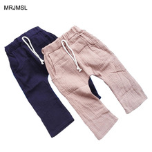MRJMSL kids trousers children pants for boys harem pants brown navy blue linen