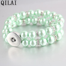Hot selling Green  peral bangle  double row snap button bracelet  for 18mm snap button jewelry