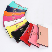 Kawaii Women Wallets Girls Cute Bowknot Purse Long PU Leather Wallets Clutches Card Holders Women Notecase Burse Lady Carteira(China)
