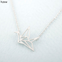 hzew Simple Couple Necklaces Gold Silver color Origami Crane Necklace for Women Cute Bird Chain Necklaces