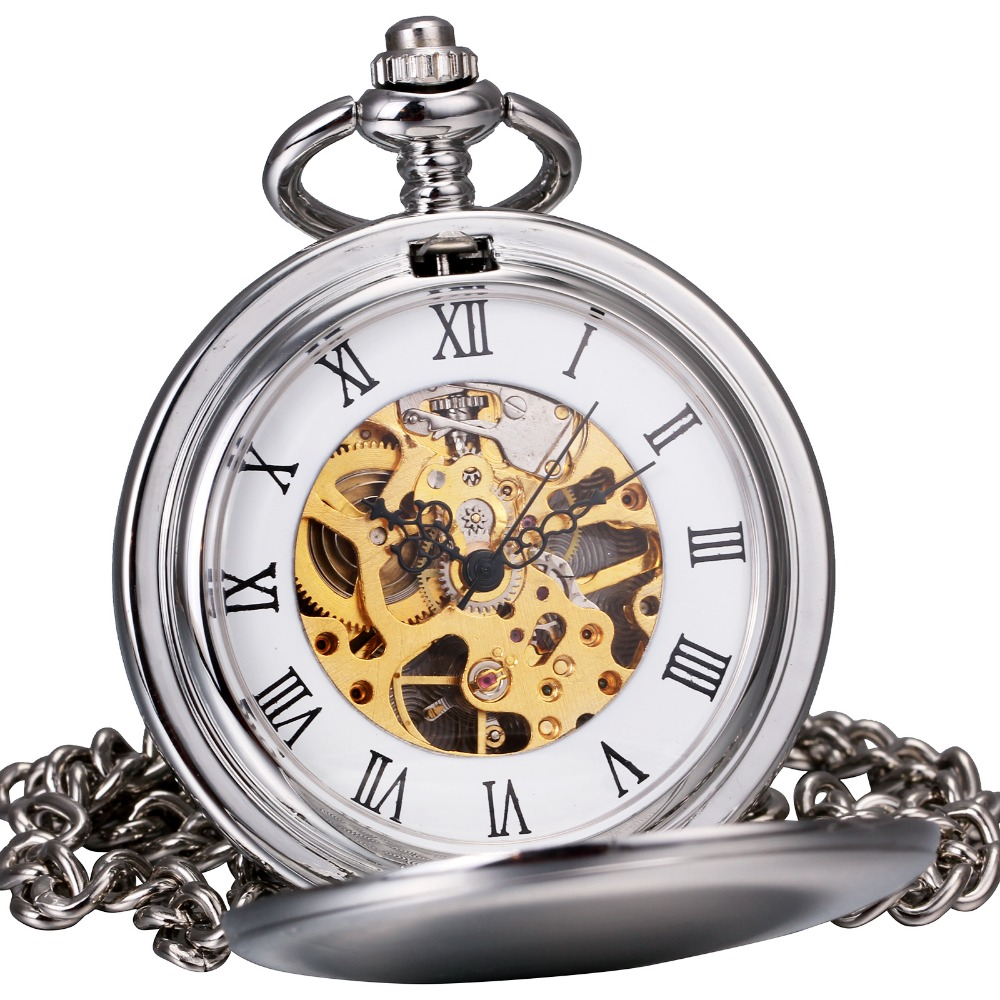 Vintage Luxury Men Women Silver Mechanical Pocket Watches Smooth Stainless Steel Case Full Hunter Roman Numerals Skeleton Dial<br><br>Aliexpress