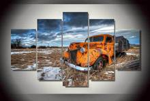 Framed Printed truck orange snow Painting on canvas room decoration print poster picture canvas Free shipping/jjv2158