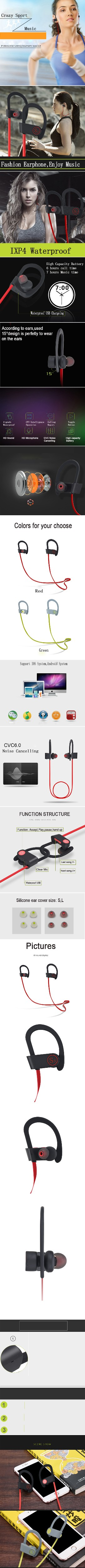 Stereo bluetooth earphone waterproof sport wireless mini headphones for xiomi iphone handsfree earpiece with microphone headset