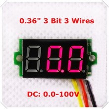 "RD DC 0-100V 0.36"" Digital Voltmeter Three Wires 3 Bit car Voltage Panel Meter Display LED Color [ 10 pieces / lot](China)"