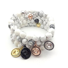 1pcs  New Top Brand Woman  Men Lion Bracelet 8MM Natural Howlite Marble Beads &  Micro Pave Black CZ Lion Bracelets