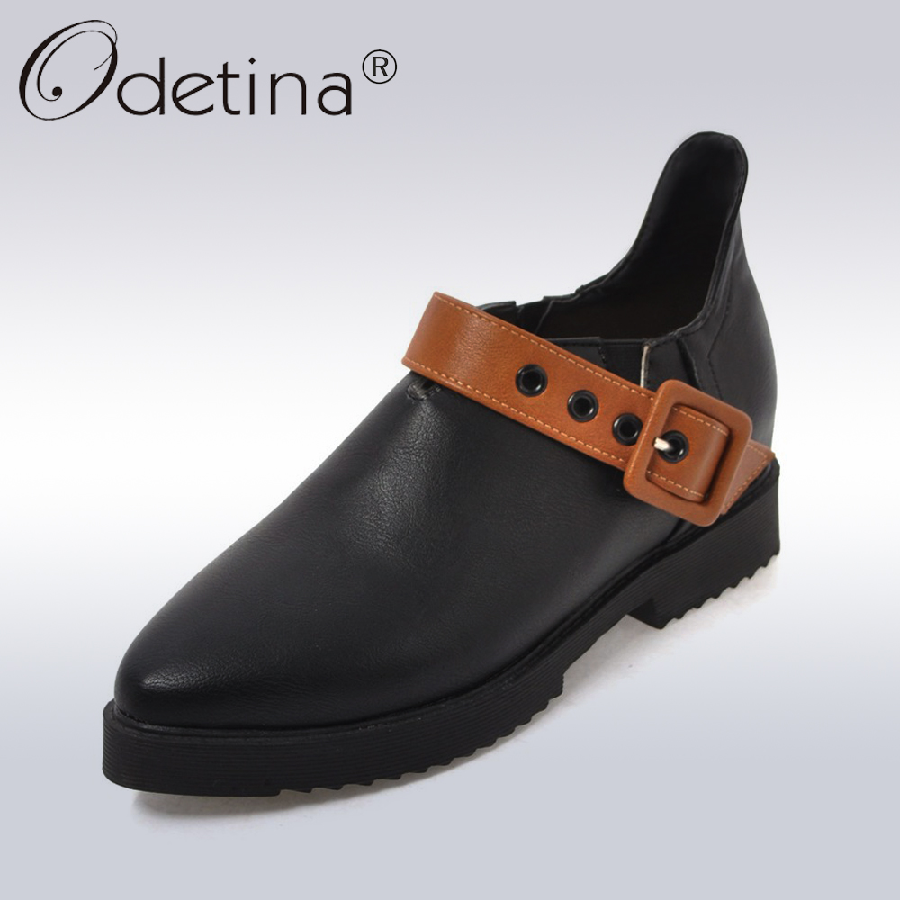 Odetina 2018 New Fashion Women Pointed Toe Loafers Elegant Ladies Flat Shoes Buckle Strap Casual Flats Pointed Toe Big Size 43<br>